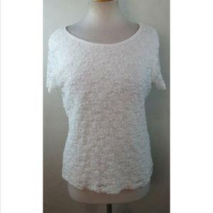 CALVIN KLEIN Floral Lace Detail Top Blouse Size M